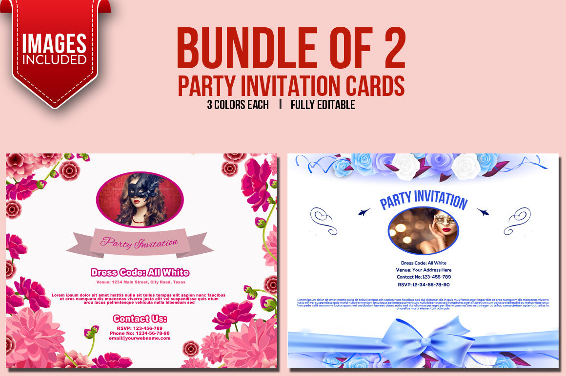 Bundle Of 2 Party Invitation Cards By Ayme Designs