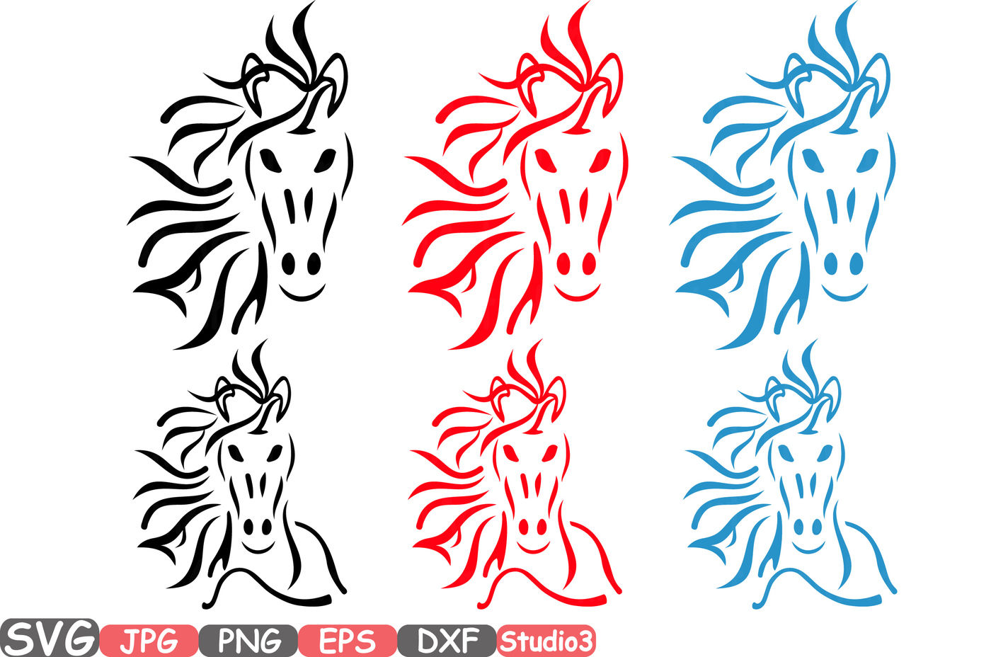 Head Horse Silhouette Svg Cowboy Western Tribal Animal 767s By