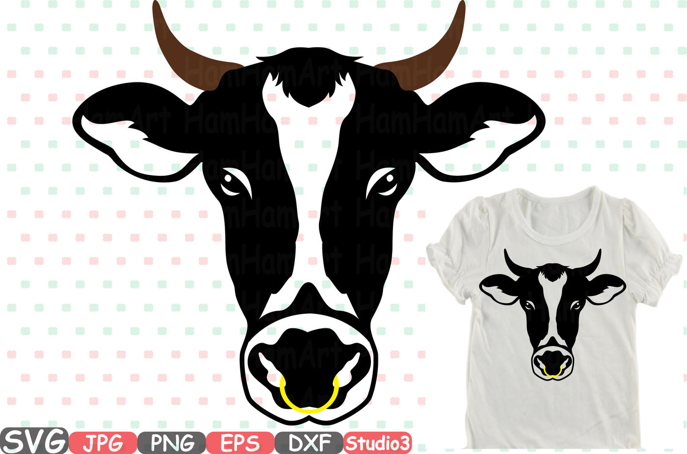 Cow Head Horns Silhouette Svg Cowboy Bull Buffalo Boho Farm 769s