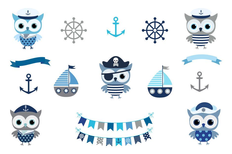 Cute nautical owl clipart, Sailor owl clipart, Pirate owl ...