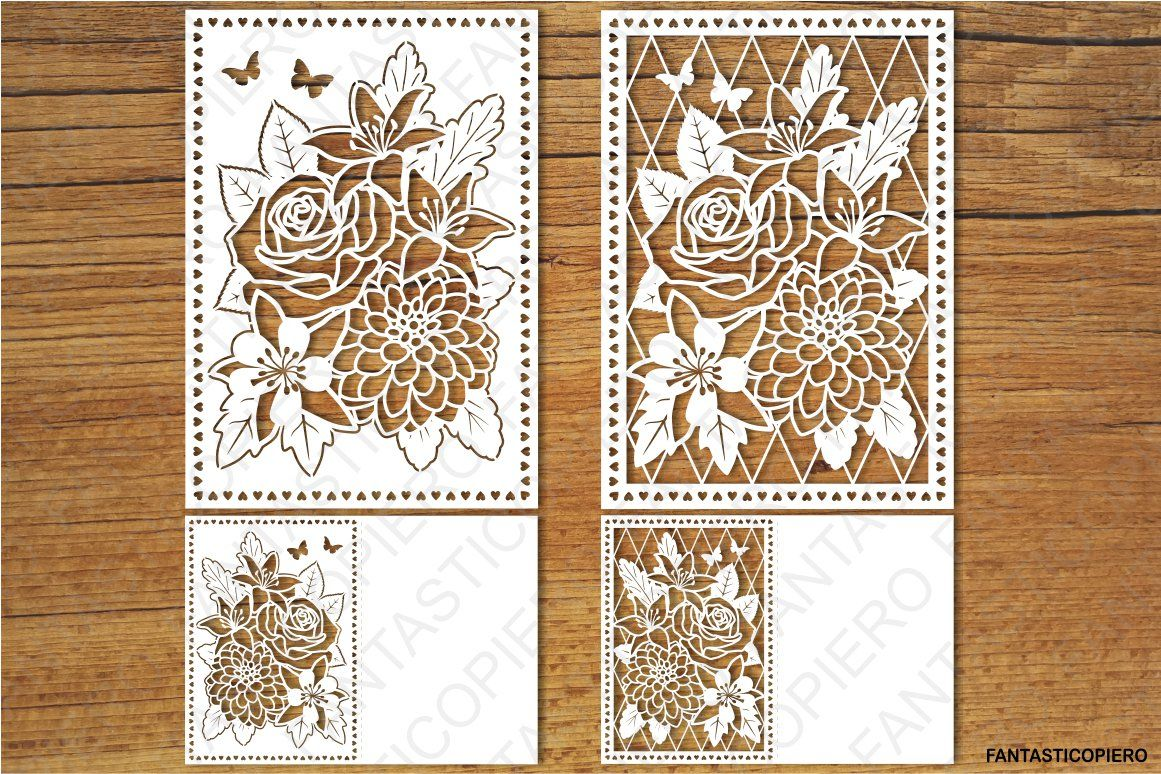 Floral Greeting Card 3 Svg Files For Silhouette Cameo And Cricut