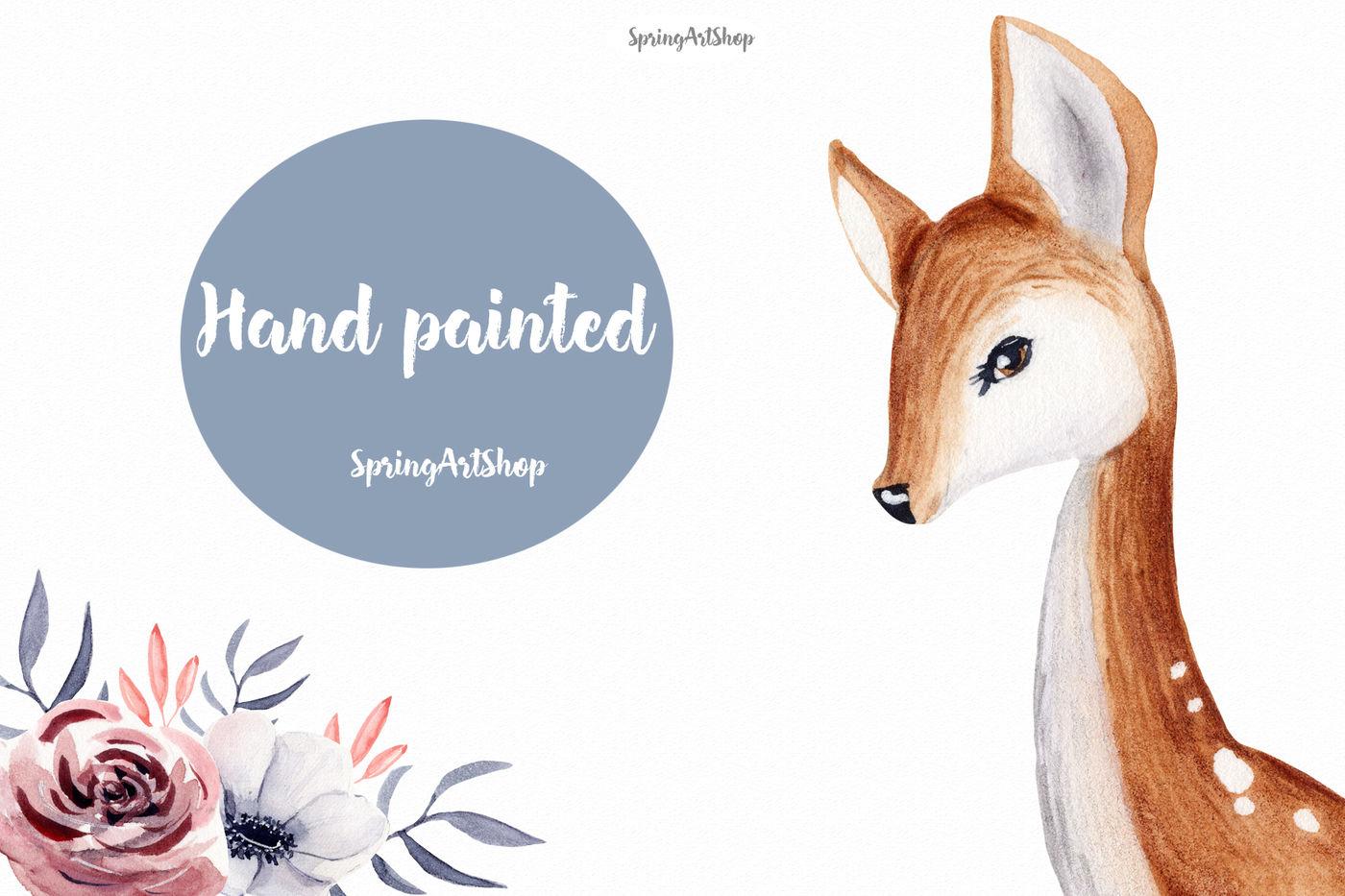 Deer watercolor. Cute baby clipart by