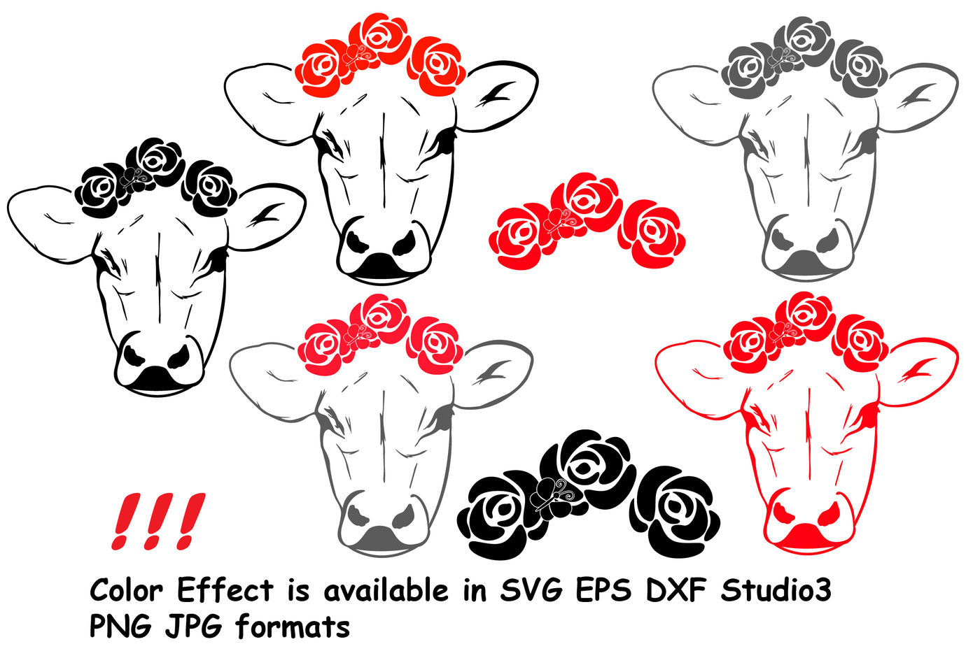 Get Cow With Flowers Silhouette Svg Bandanna Flower Heifer Iron 74Sv Design