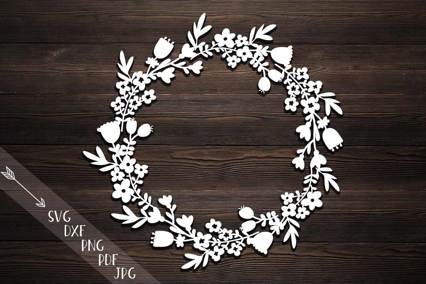 Flower Wreath Paper Cut Svg Monogram Flowers Papercutting
