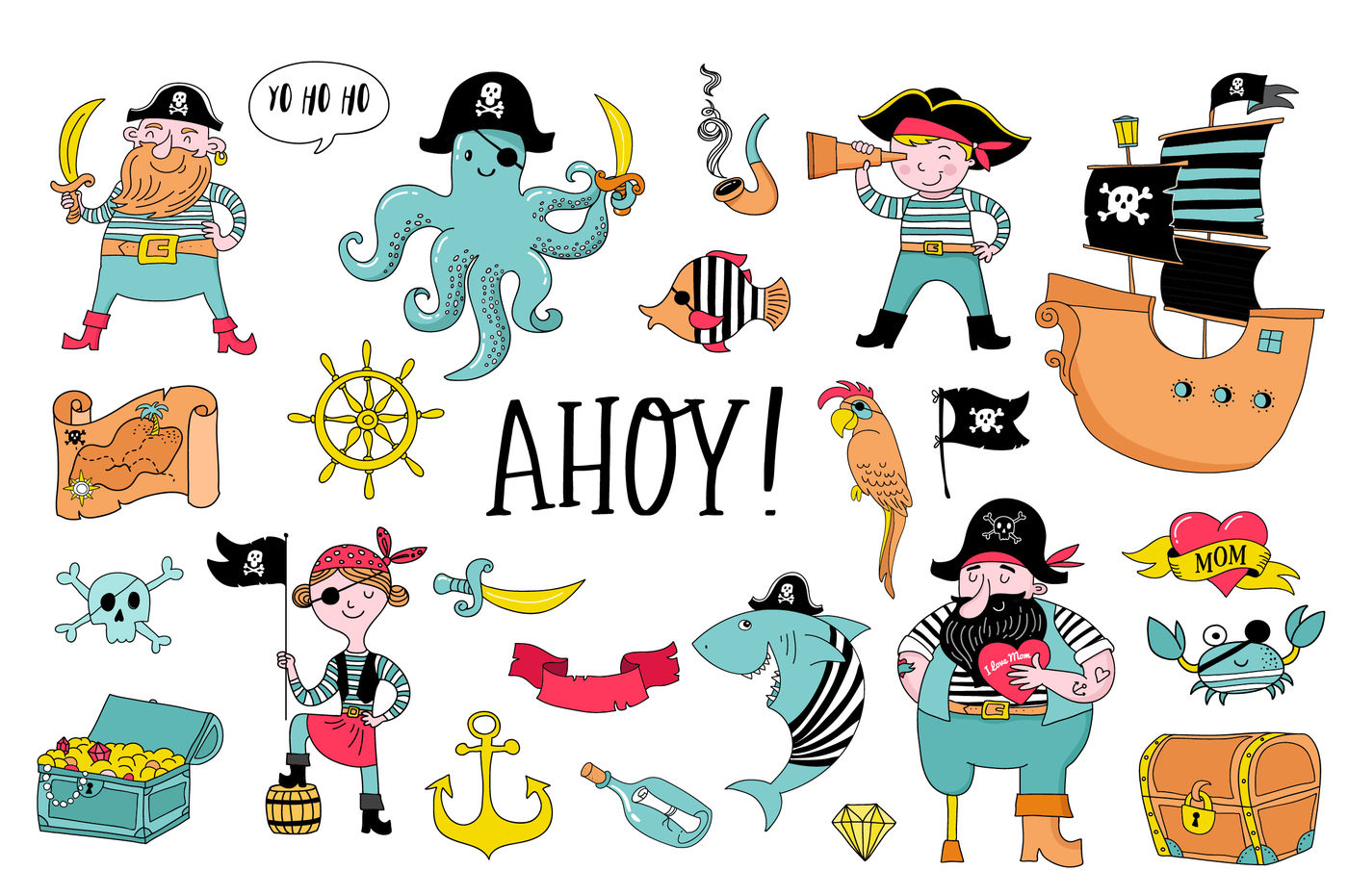 Ahoy Pirate Collection By Marish Thehungryjpeg Com