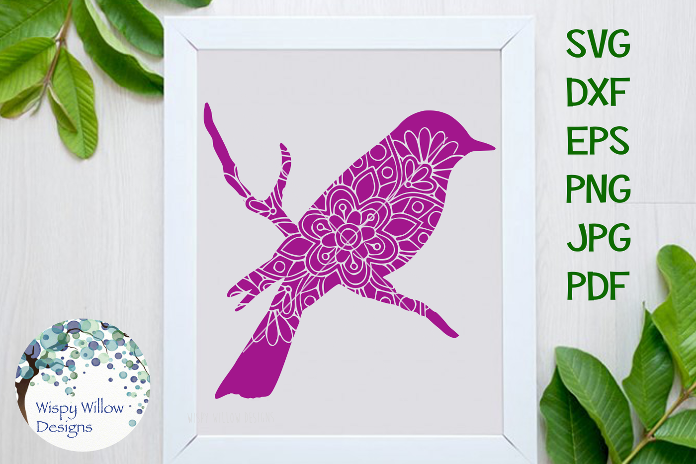 Bird Floral Mandala Svg Dxf Eps Png Jpg Pdf By Wispy Willow