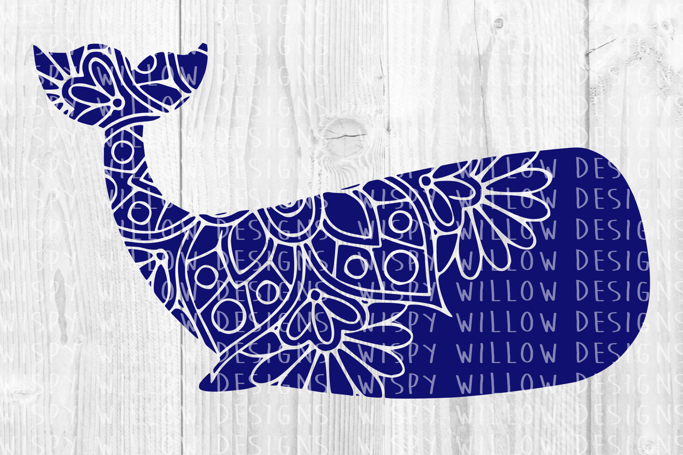 Floral Whale Mandala Svg Dxf Eps Png Jpg Pdf By Wispy Willow