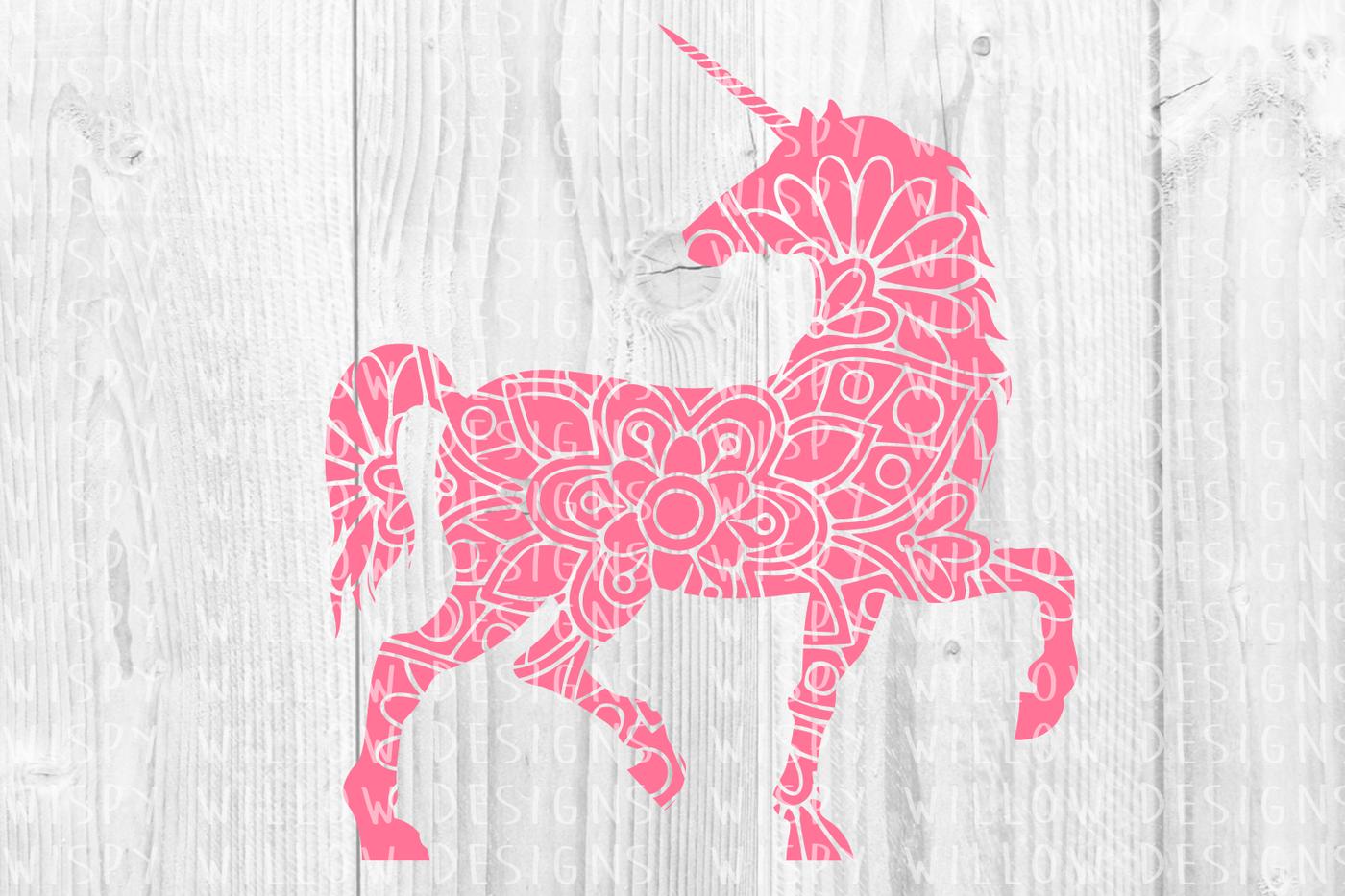 Unicorn Floral Mandala Svg Dxf Eps Png Jpg Pdf By Wispy Willow
