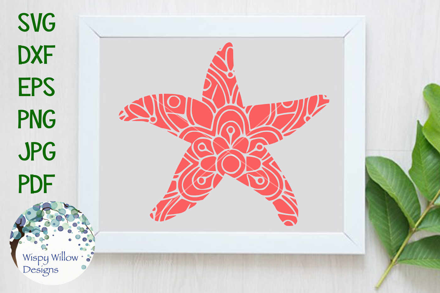 Starfish Mandala Svg Dxf Eps Png Jpg Pdf By Wispy Willow Designs