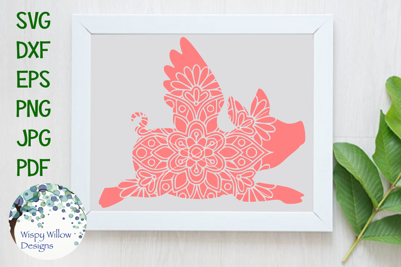 Flying Pig Mandala Svg Dxf Eps Png Jpg Pdf By Wispy Willow Designs