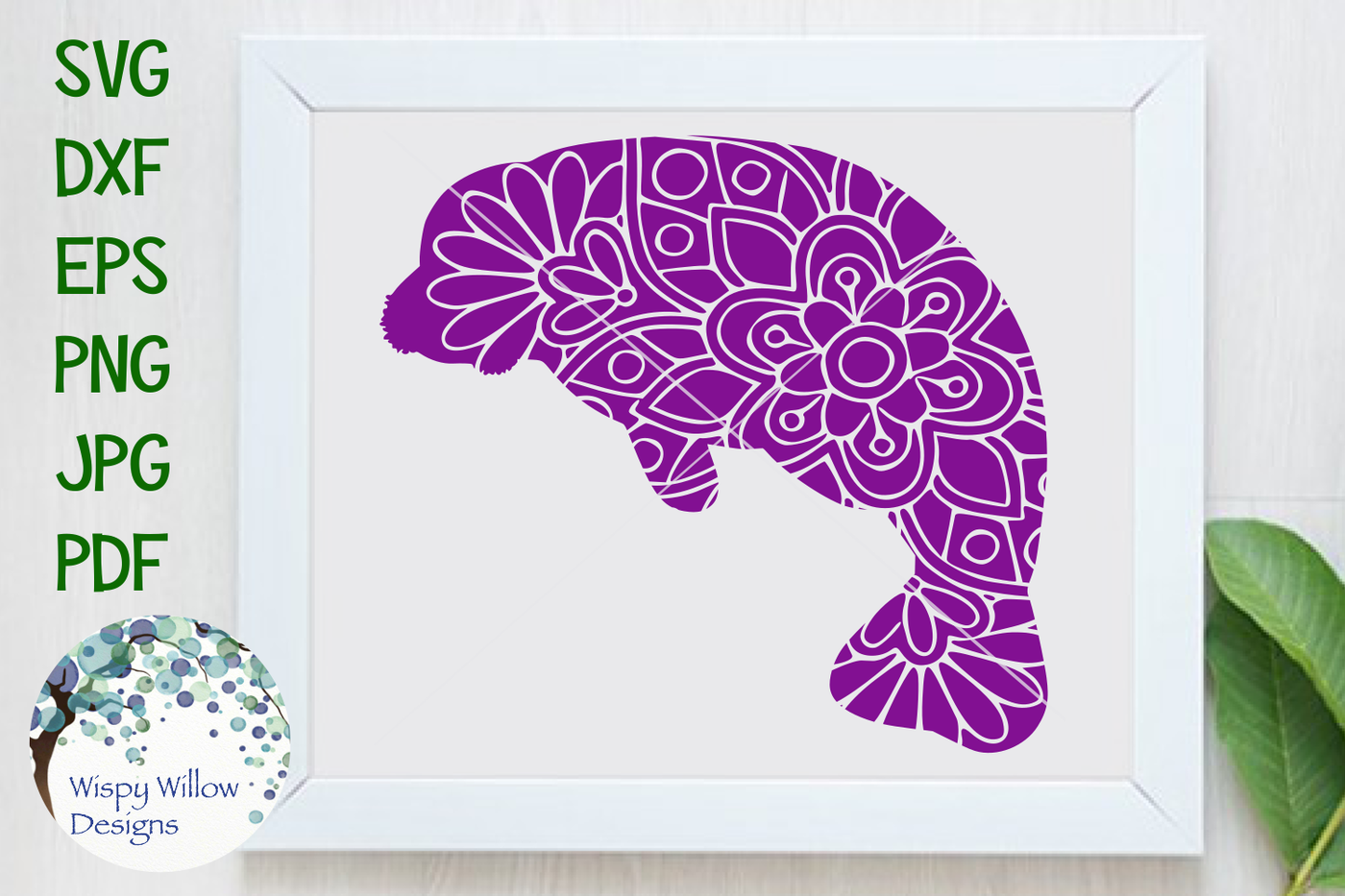 Manatee Mandala Svg Dxf Eps Png Jpg Pdf By Wispy Willow Designs