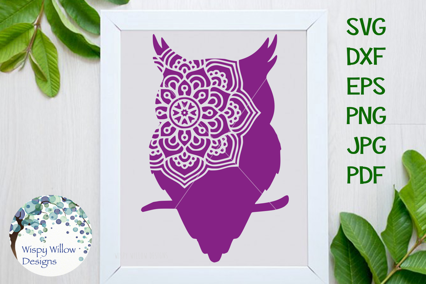Owl Mandala Svg Dxf Eps Png Jpg Pdf By Wispy Willow Designs