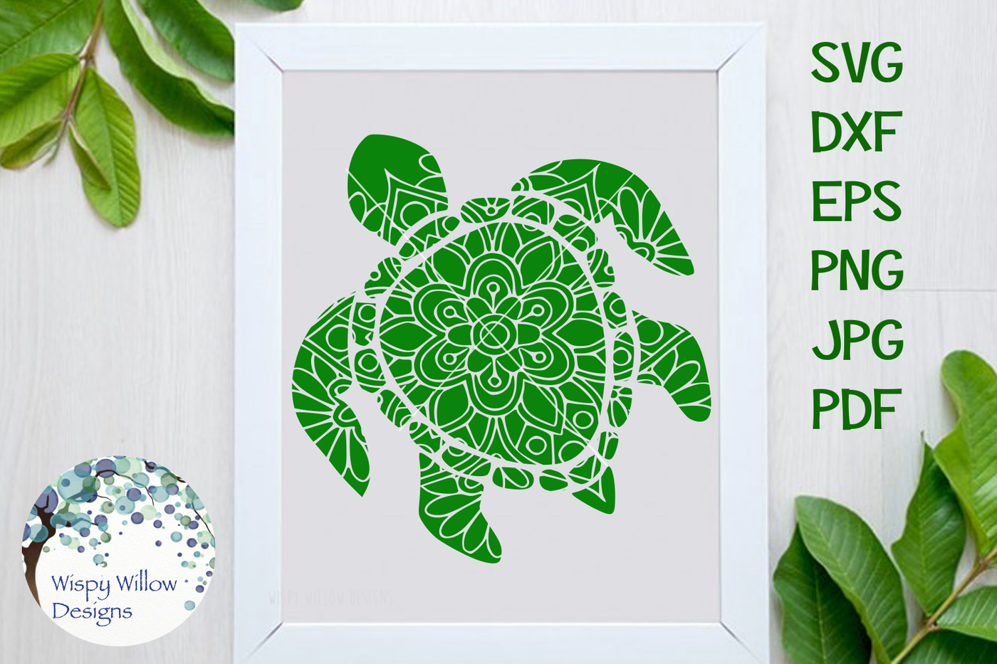 Turtle Mandala Svg Dxf Eps Png Jpg Pdf By Wispy Willow Designs