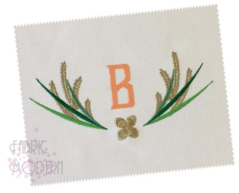 Wheat Wreath Embroidery Monogram Frame Wedding Design Border Wheat