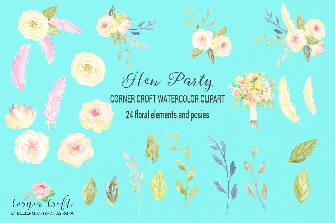 Watercolor Hen Party Clipart Bridal Shower Clipart By Cornercroft