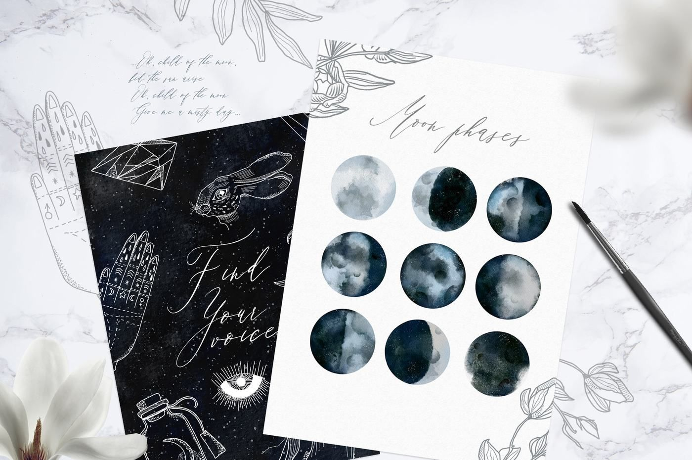 Lunare Mysterious Graphic Set By Little Magic Box Thehungryjpeg Com