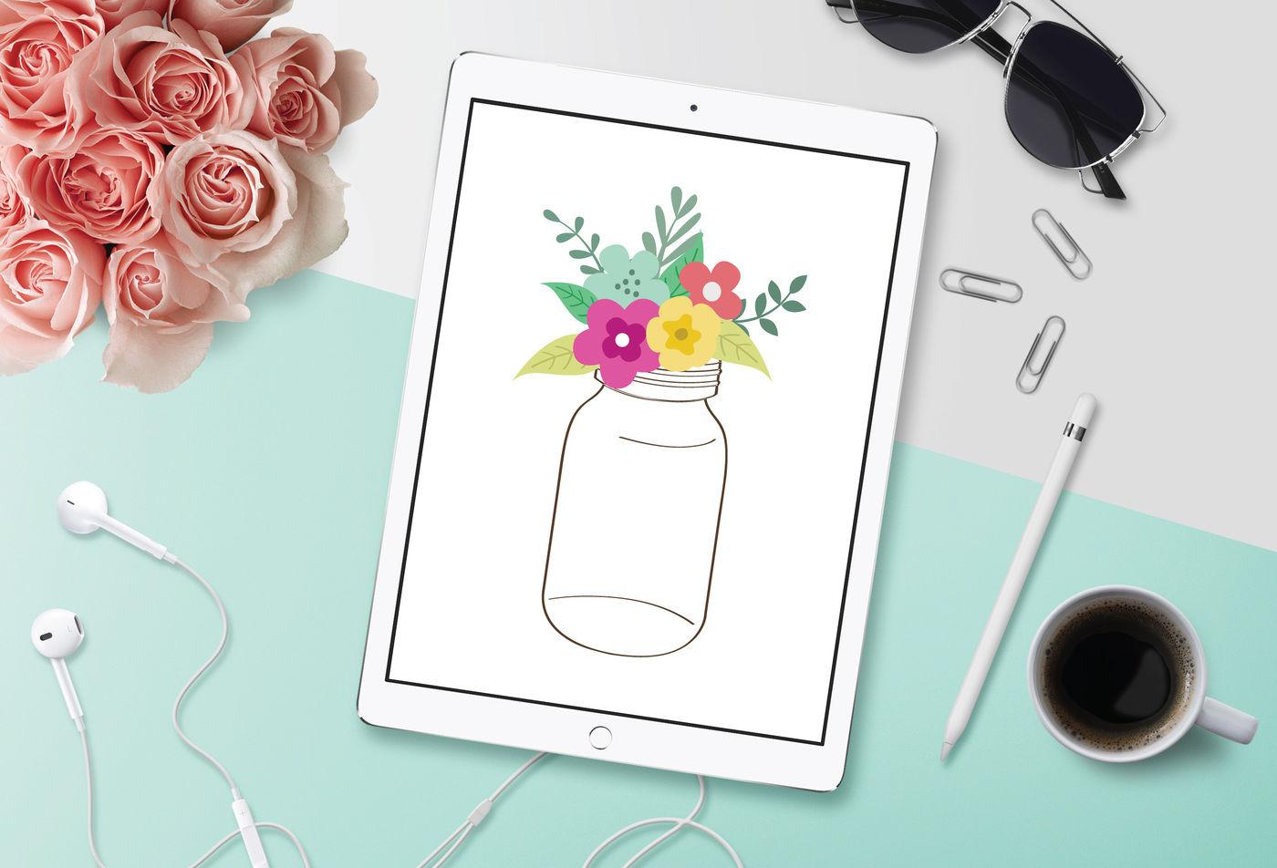 Mason Jar Svg Flowers Svg Dxf File Cuttable File By Bnr Designs
