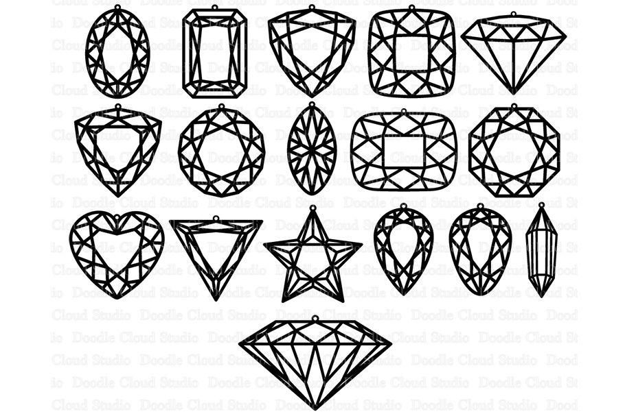 Gem Earring Svg Diamond Earring Svg Files By Doodle Cloud Studio