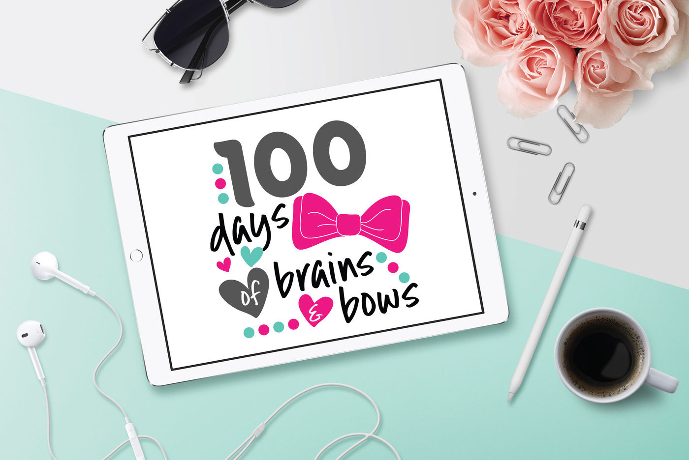 100 Days Svg Brains And Bows Svg Dxf File Cuttable File By Bnr