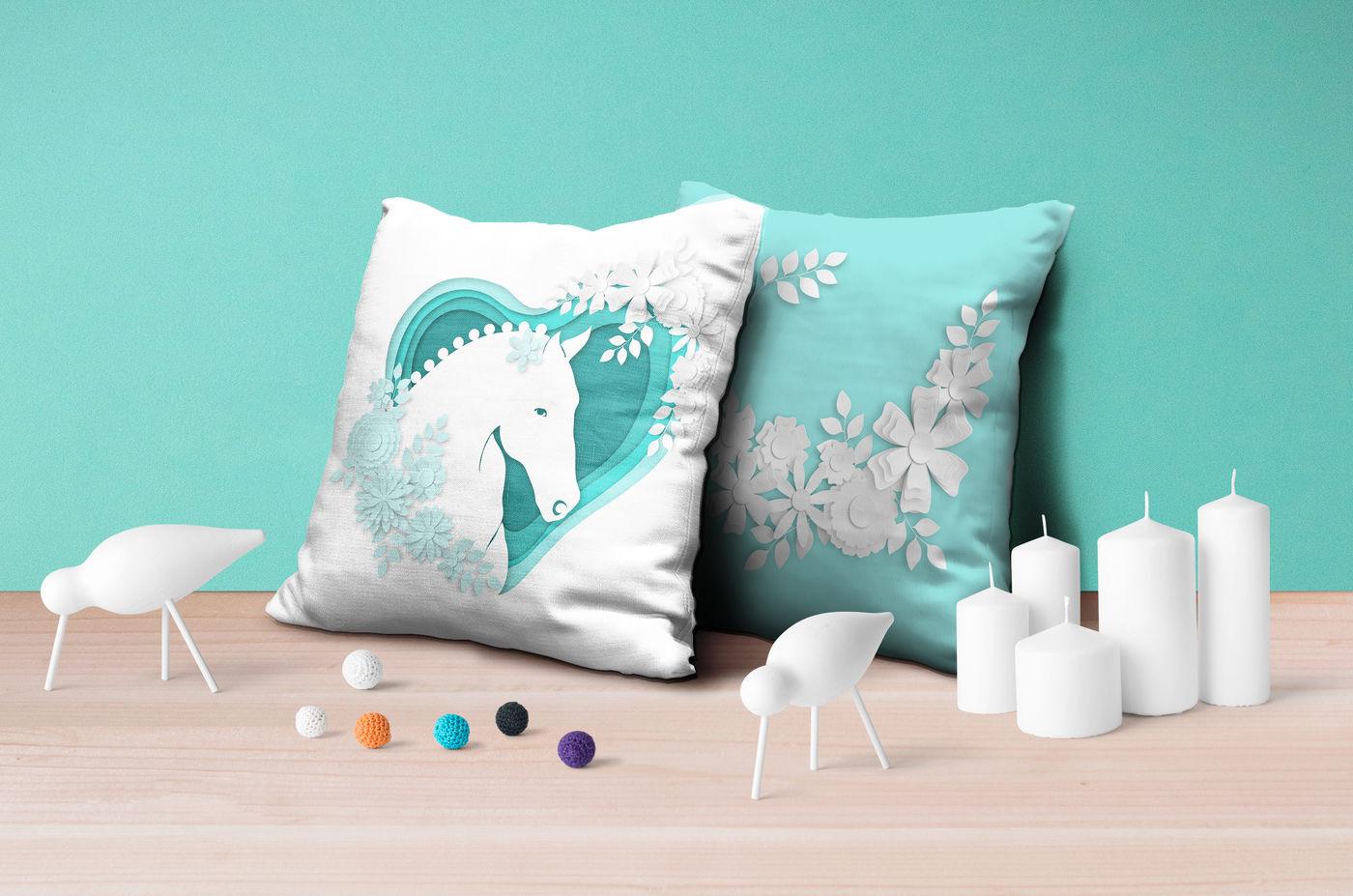 Horses Flowers Love Part 2 Vector Paper Art Style By Yuliya