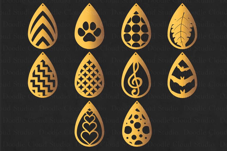 Teardrop Earrings Svg Pendant Svg Earring Template Cut Files By