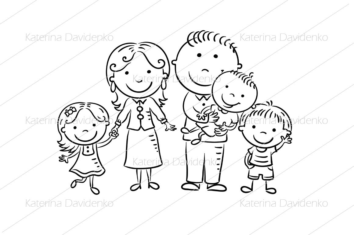 Happy Family With Three Children By Optimistic Kids Art