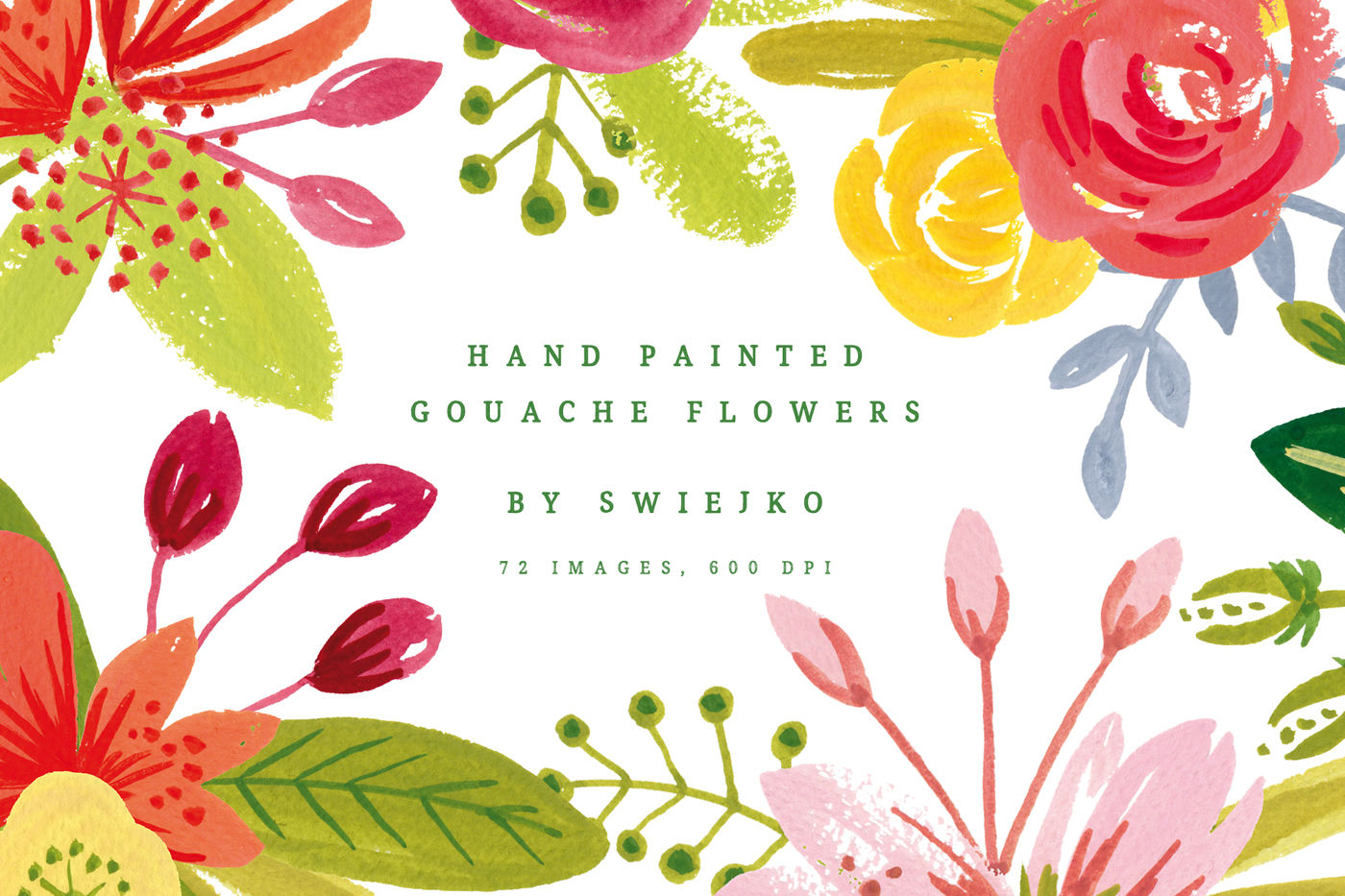 Simple Gouache Flowers By Swiejko Thehungryjpeg Com