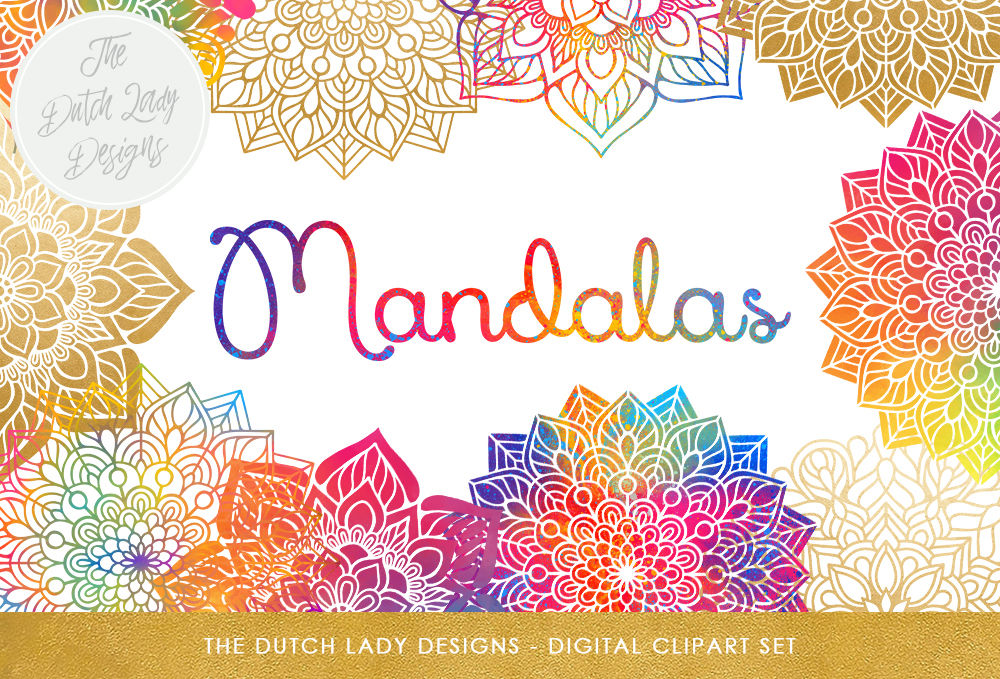 Mandala Clipart Set Rainbow Gold By The Dutch Lady Designs