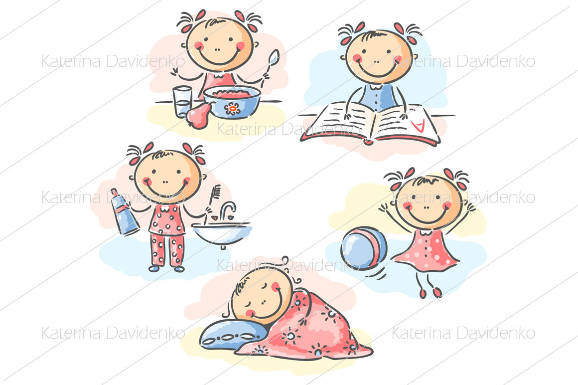 Set Of Boy And Girl Daily Activities By Optimistic Kids Art