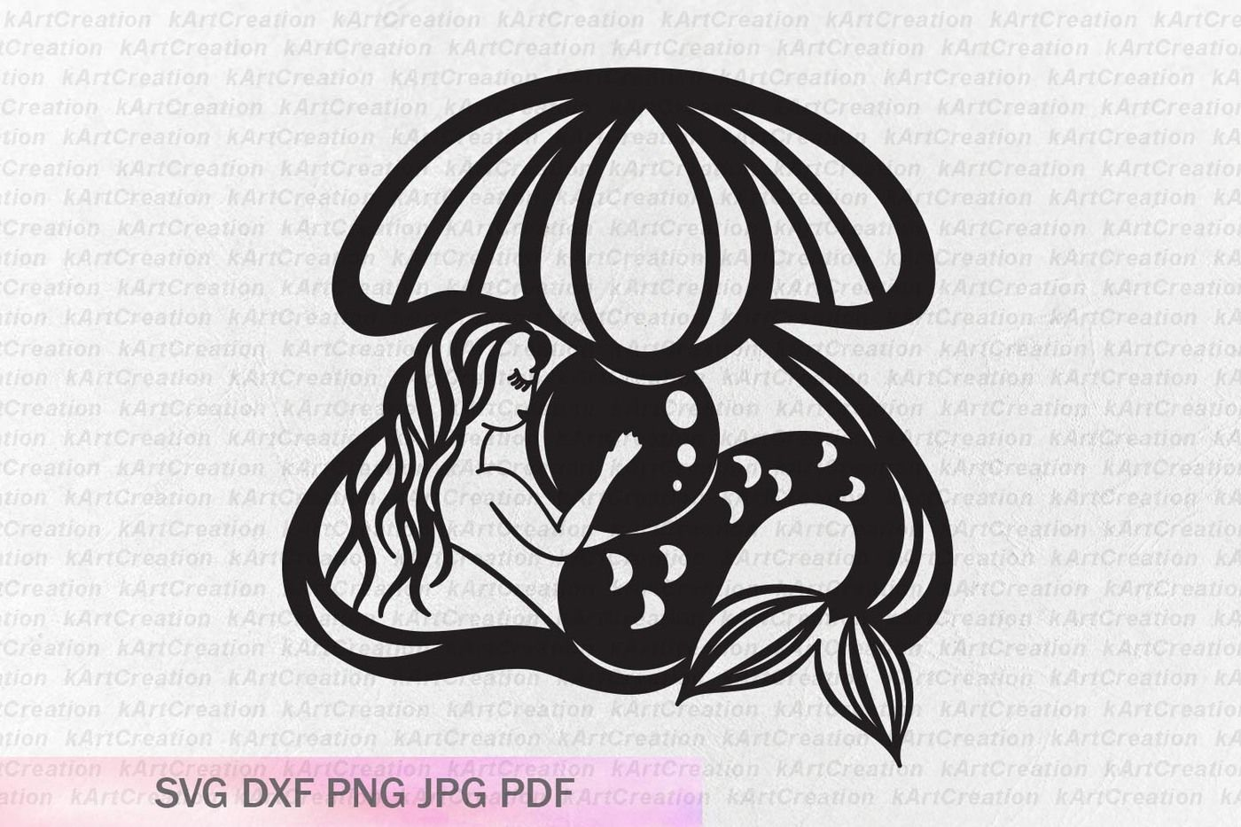 Sleeping Mermaid In A Shell Svg Mermaid With Pearl Svg File