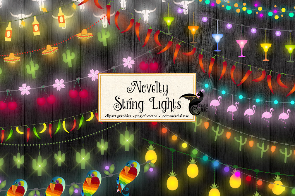 Novelty String Lights Clipart By Digital Curio Thehungryjpeg Com
