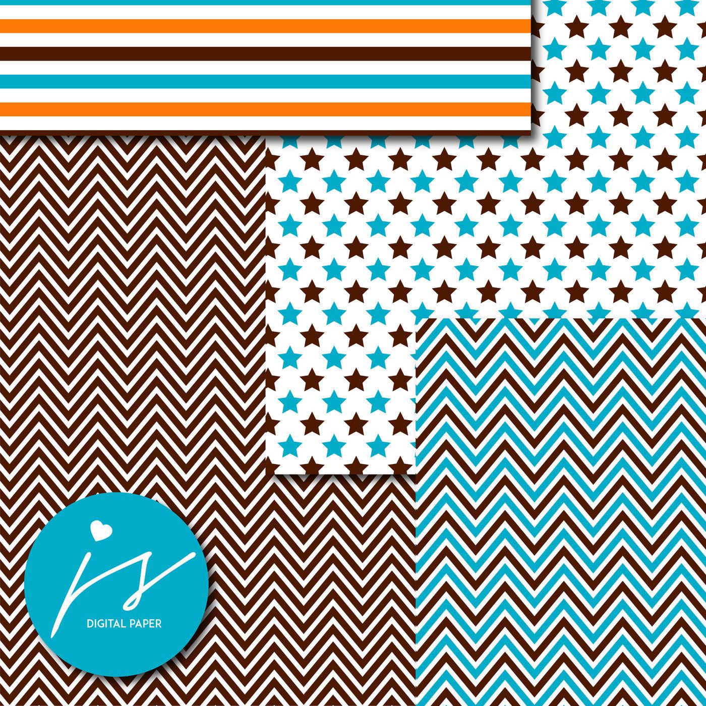 Teal Brown And Orange Digital Scrapbooking Paper Mi 845 By Js Digital Paper Thehungryjpeg Com