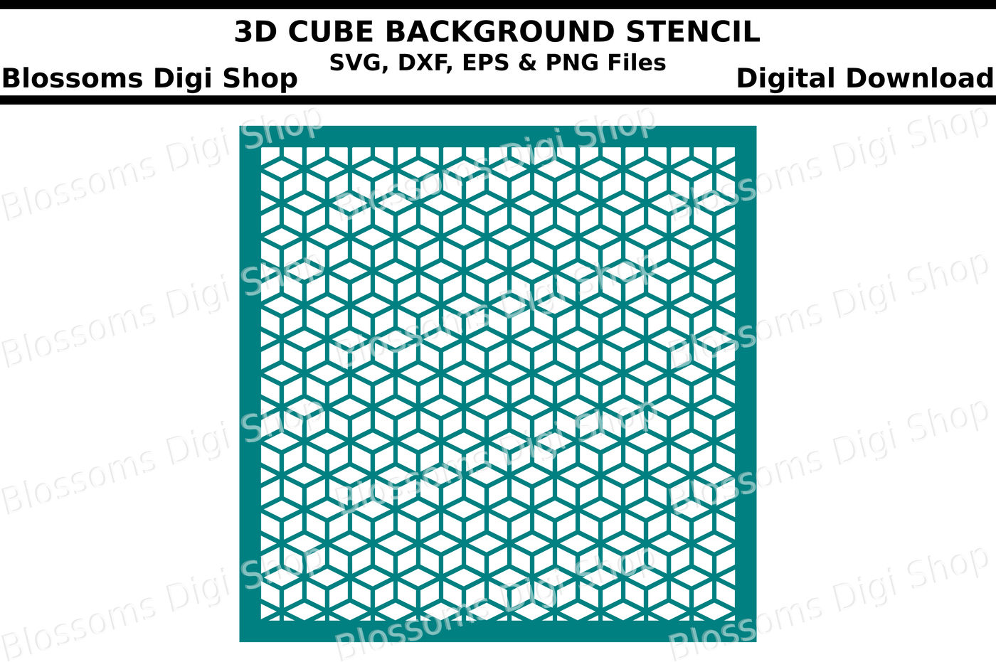 3d Cube Background Stencil Svg Dxf Eps And Png Files By Blossoms
