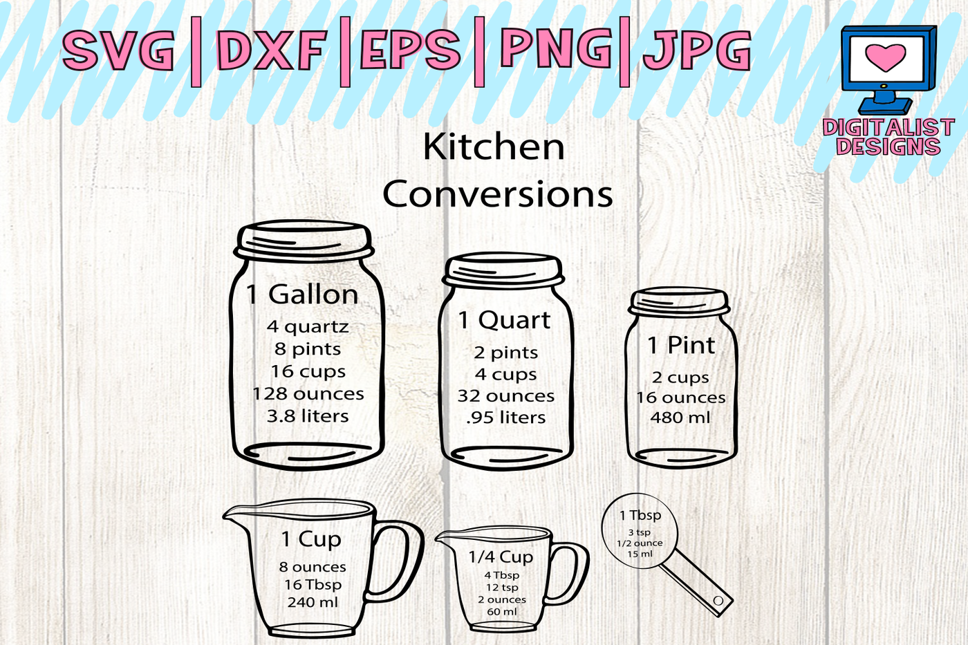 Kitchen Svg Measuring Cup Svg Measuring Cheat Sheet Svg Cooking