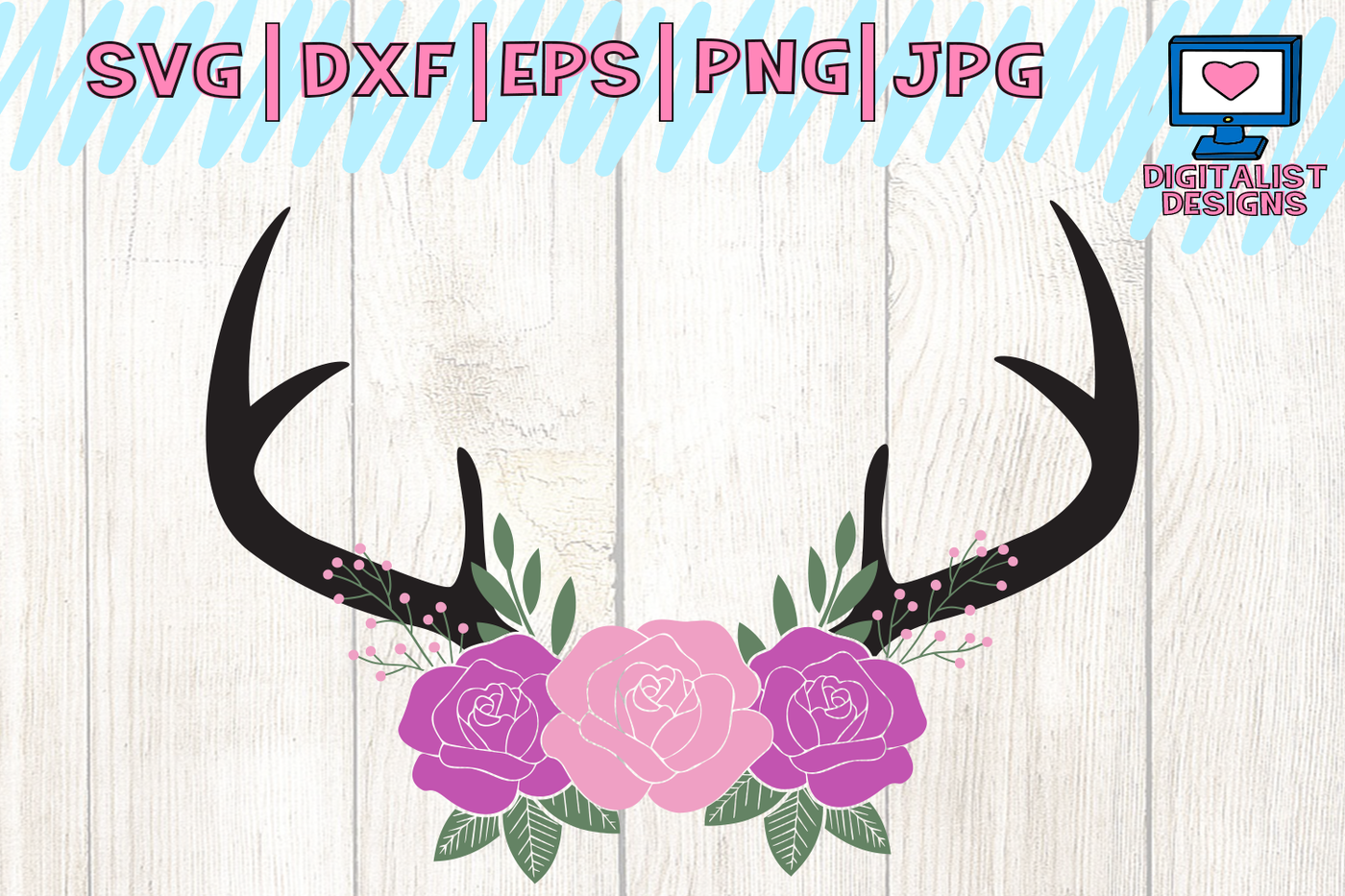 Floral Antlers Deer Svg File Antlers Svg Cricut Design Space By