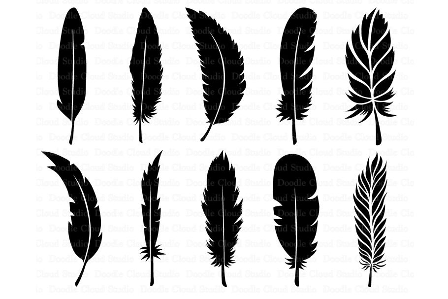 Feather Svg Boho Feathers Feathers Bundle Svg Files By Doodle