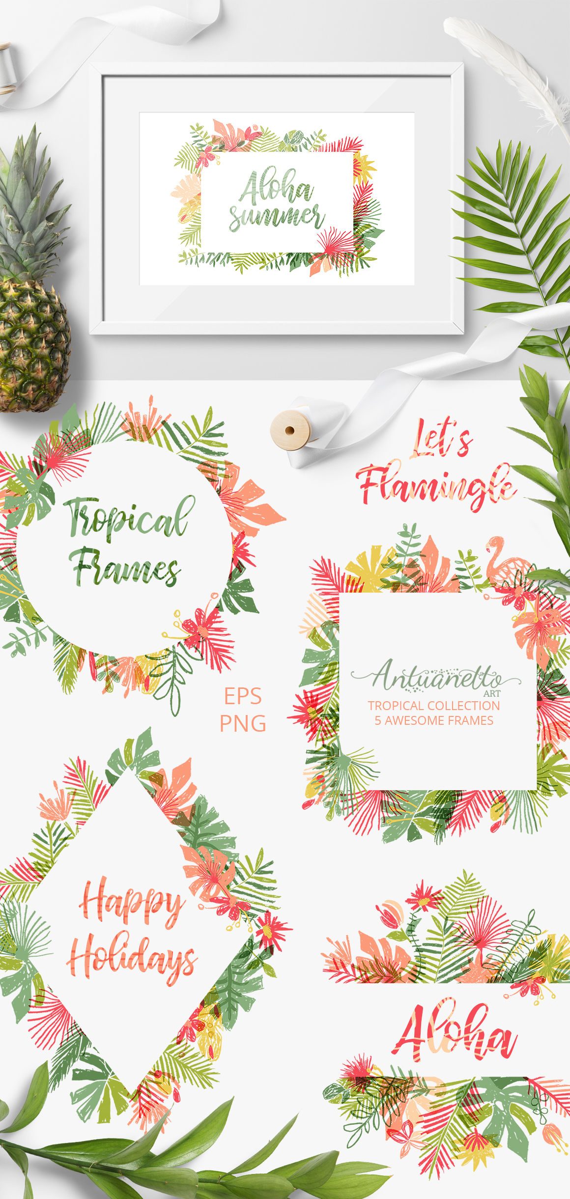 Let S Flamingle Vector Tropical Collection By Antuanetto