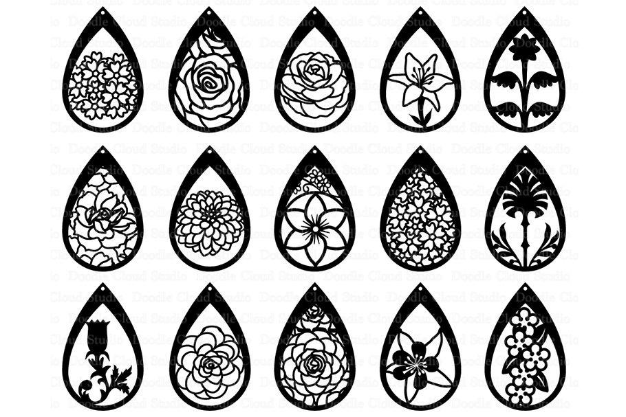 Floral Earrings Svg Teardrop Earrings Pendant Svg Files By