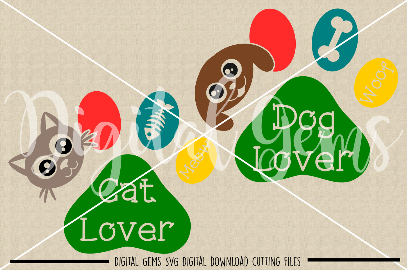 Cat And Dog Lover Svg Dxf Eps Png Files By Digital Gems