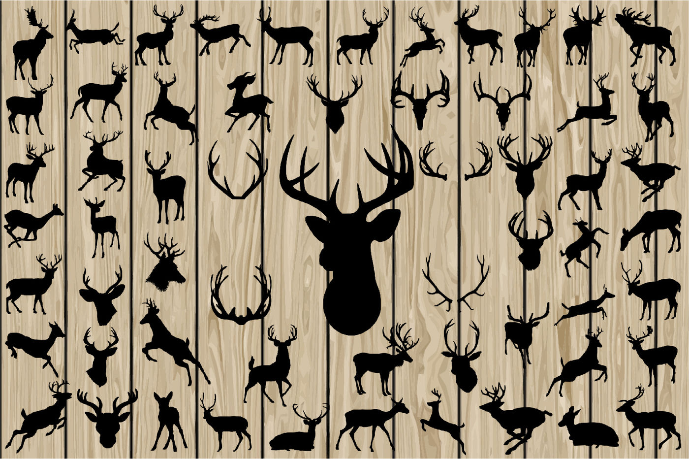 60 Deer Svg Deer Vector Deer Silhouette Clipart Cutting File