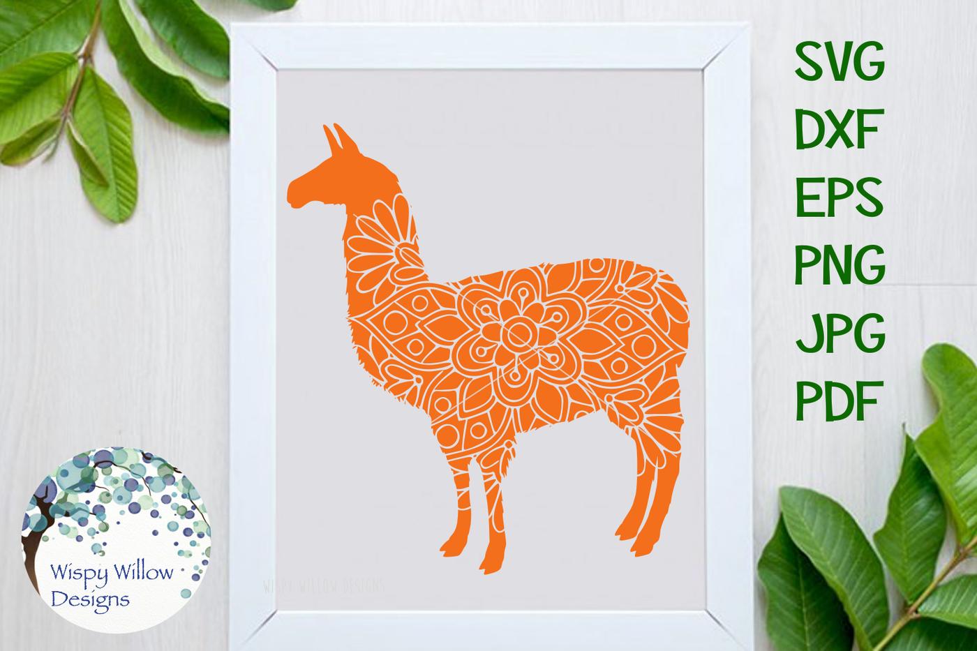 Llama Floral Mandala Svg Dxf Eps Png Jpg Pdf By Wispy Willow
