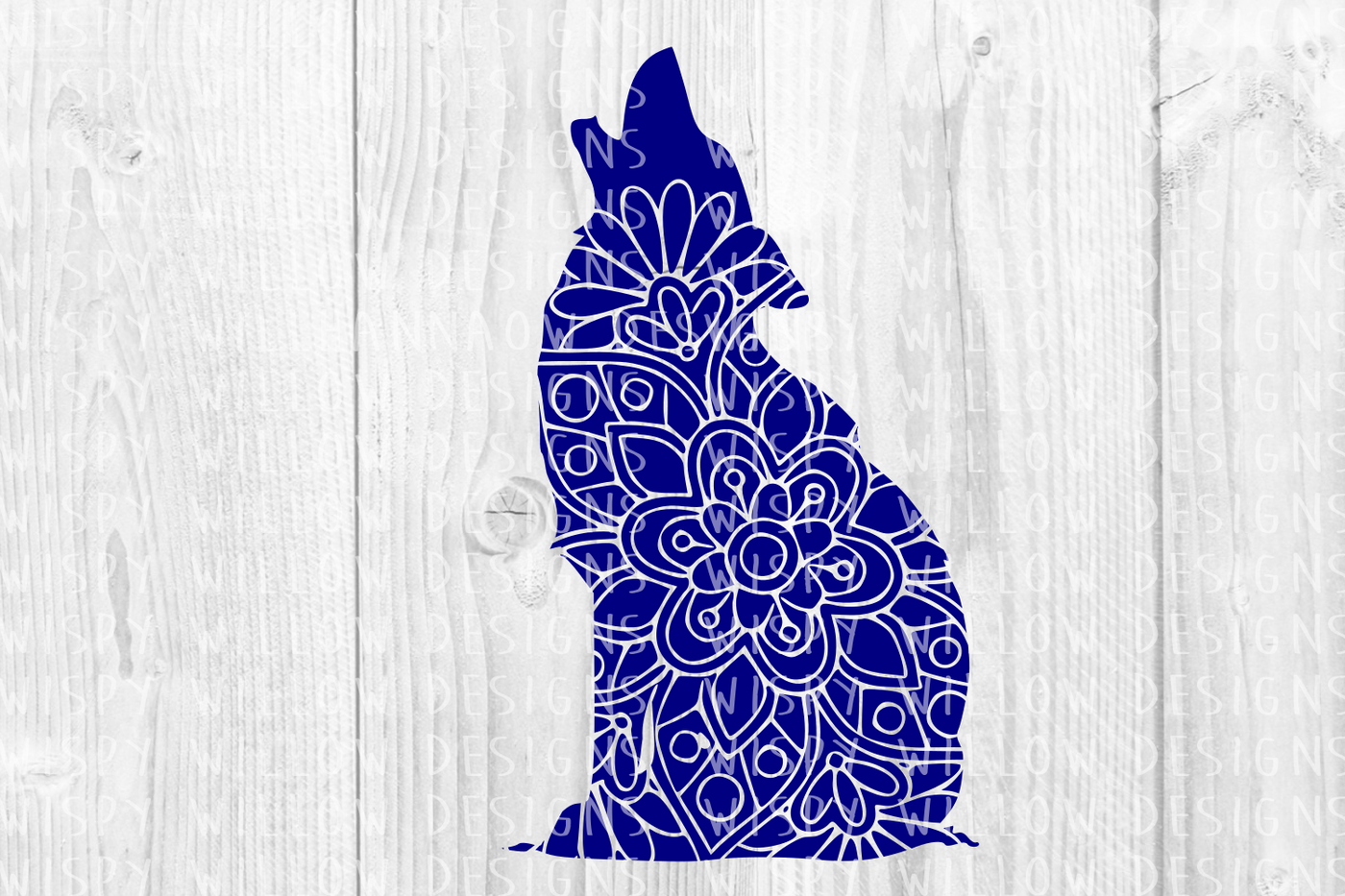 Howling Wolf Floral Mandala Svg Dxf Eps Png Jpg Pdf By Wispy