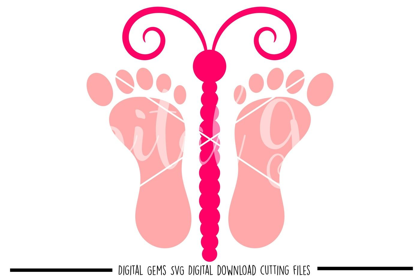 Butterfly Footprint Svg Dxf Eps Png Files By Digital Gems