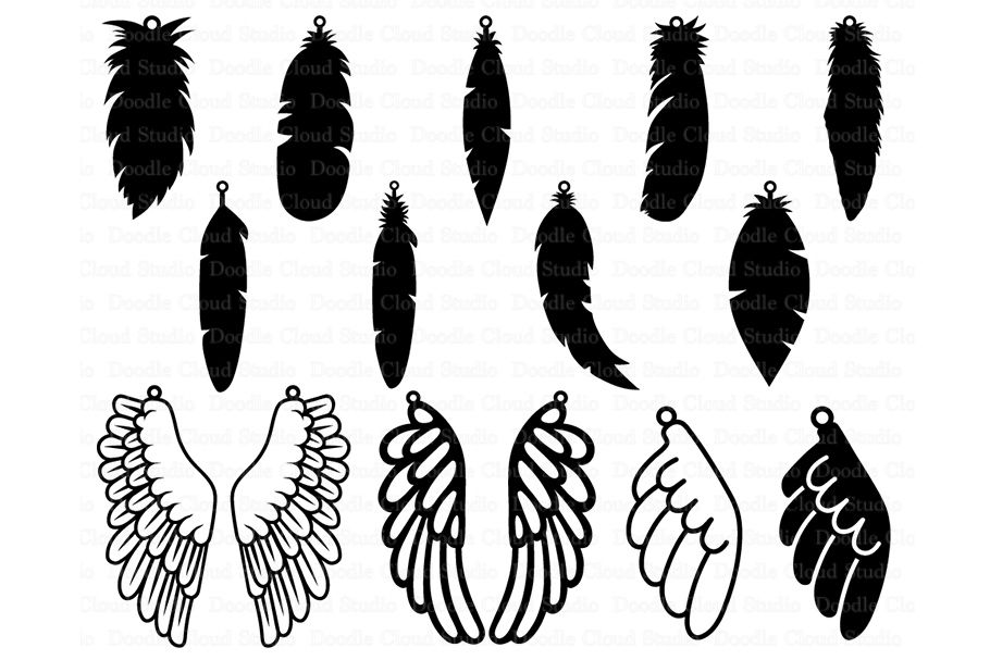 Feather Earring Svg Wing Earring Svg Tear Drop Svg Pendant Svg
