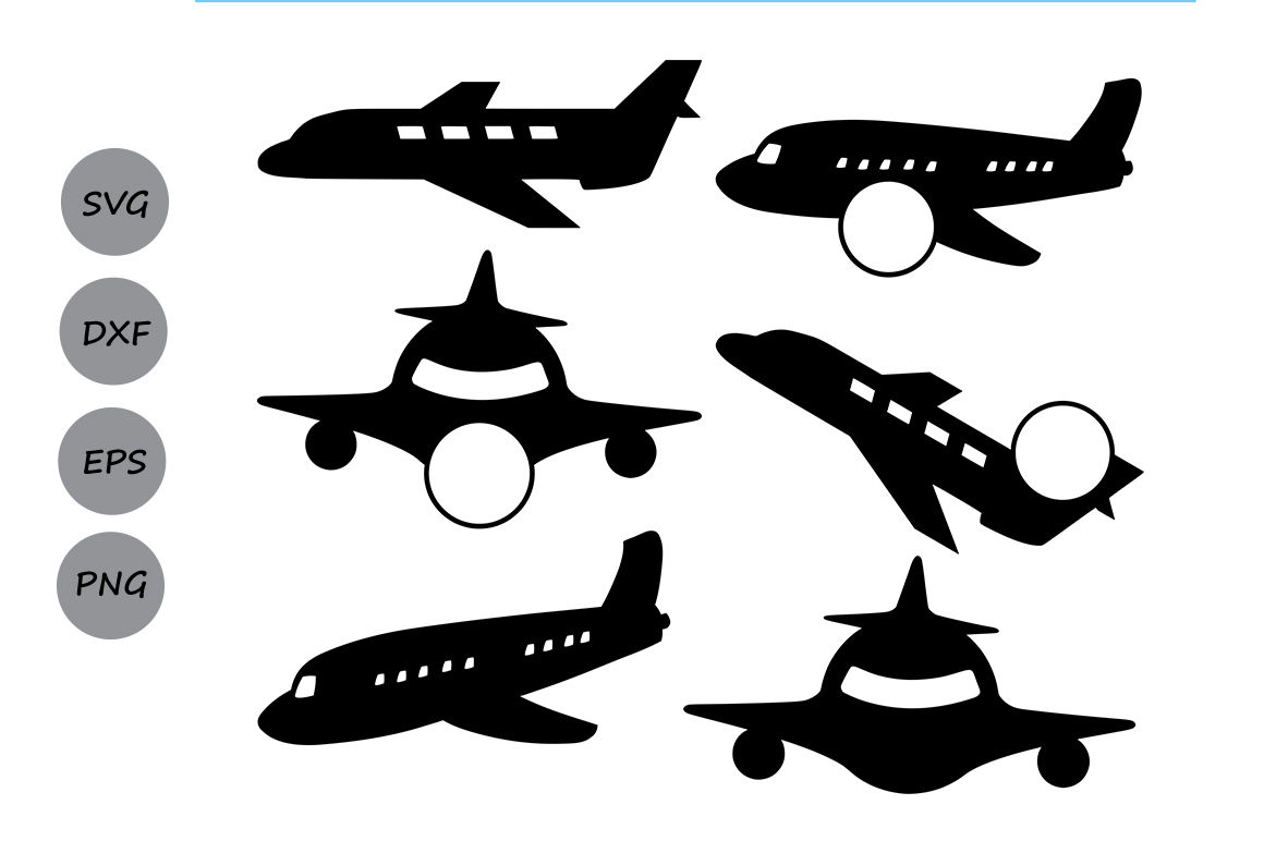 Airplane Svg Monogram Frame Cut Files Plane Silhouette By