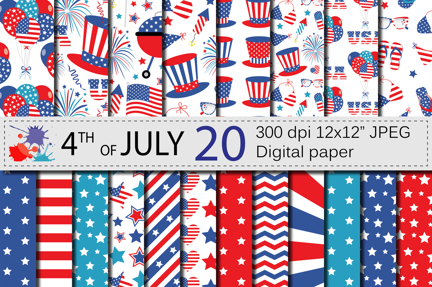 4th Of July Digital Paper Usa Independence Day Patriotic