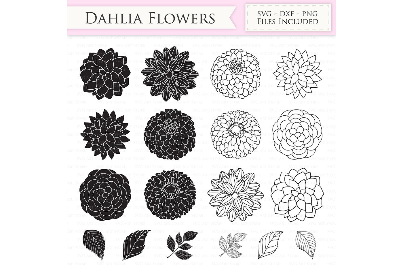 Dahlia Flowers Svg Files Peony Flowers Cut Files By Svgartstore