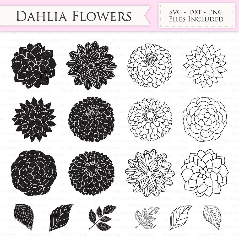 Dahlia Flowers Svg Files Peony Flowers Cut Files By Svgartstore
