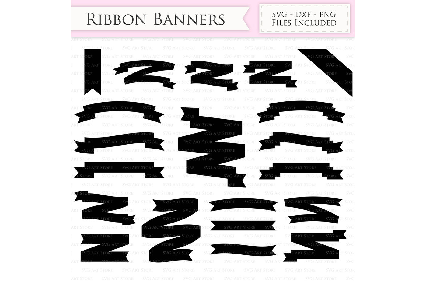 Ribbon Banners Svg Text Banners Cut Files By Svgartstore