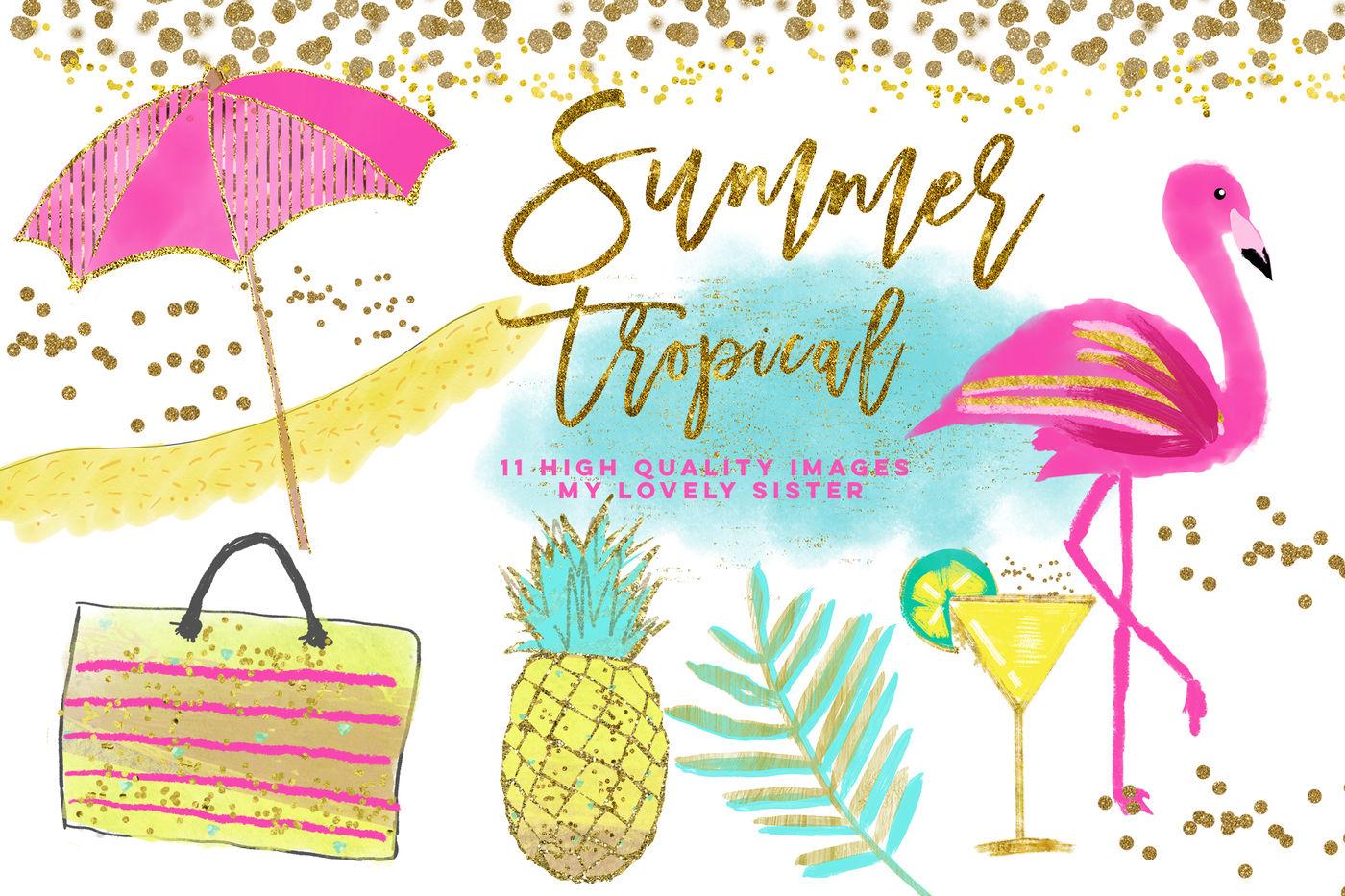 Flamingo Clipart, Pineapple Tropical clip art, summer ...